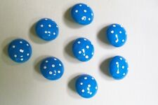 8 vintage German domed blue kids'/baby buttons with white spots 12 mm. diameter