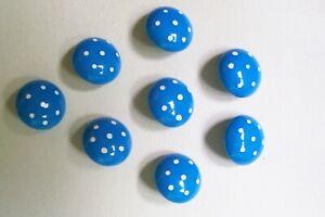 8 vintage German domed blue kids'/baby buttons/white spots 12 mm. diameter