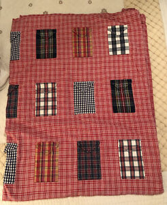 pottery Barn Kids Red Checked Plaid Patchwork Pockets Twin Duvet Cover