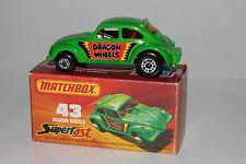 MATCHBOX SUPERFAST #43 DRAGON WHEELS VOLKSWAGEN VW BEETLE DRAGSTER, LOT B