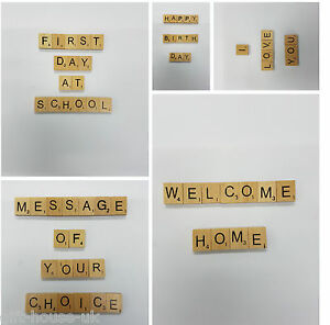 Wooden Scrabble Customise Choice Tiles Letters Number Wishing Merry Christmas