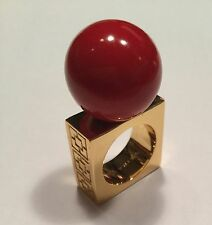 TRINA TURK RESIN BALL RING in RED-SQUARE BAND-COCTAIL RING-UNUSUAL & STRIKING