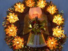Vtg 60s 70s MOD Angel Lighted Gold Wreath Tree Topper in Orig Box