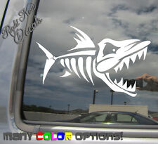 Skeleton Fish - Fishing Piranha - Window High Quality Vinyl Decal Sticker 01063