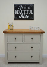 Grey Painted Oak Chest of Drawers / 4 Drawer Wide Chest / Bedroom / New Tuscan