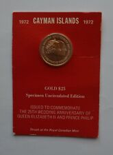 More details for 1972 cayman islands gold $25 coin in card