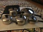 Vintage Revere Ware Copper Bottom Lot Of 10 Piece Pot And Pan And Lids Usa