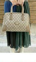 Authentic Gucci Plus Boston Medium Handbag Light Brown Coated Leather-Preloved
