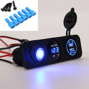 LED Digital Display Voltmeter Rocker Switch Panel USB Charger Cigarette Lighter