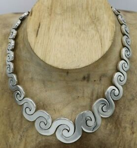 """Mexico CHUNKY Sterling Graduated Spiral Puzzle Link Necklace 16"""" 148 Grams New"""