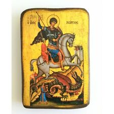 Icon of St. George, Greek Russian Christian Orthodox, Agios Georgios, Wood A0