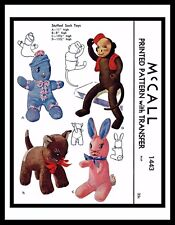 1443 McCall Fabric Sewing PATTERN Toy Stuffed SOCK DOLLS CAT Kitty BUNNY MONKEY
