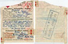 RED CROSS MESSAGE 8fr + LABELS 1944 WW2 + 6 HANDSTAMPS INCOMPLETE