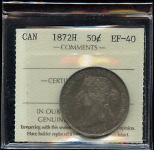 1872H Canada Fifty Cents - ICCS EF-40 Cert#XEH 324