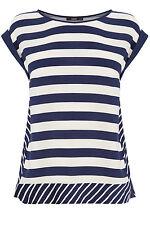 Oasis Womens Blue Ivory White Casual Stripe Viscose Top [05607261] UK 10 EU 36