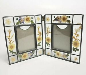 Vtg Frame Glass Dried Pressed Flowers Hinged Double 2 Photo Picture Cottage Boho