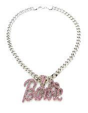 "NEW Pink Barbie Pendant 9mm 18"" Cuban Chain Necklace"