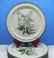 "4 Noritake Stoneware MOUNTAIN FLOWERS Gray Green Salad Plate Plates 8.25"" Set 4"
