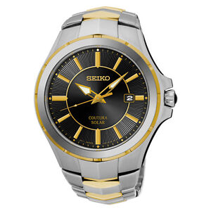 Seiko SNE412 SNE412P9 Coutura Mens Solar Watch two-tone Cabochon Crown RRP $695