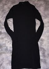 Fashion Nova Black Dress Womens Size Medium Ribbed Long Sleeve Mock Turtleneck