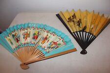 Lot of 2 Vintage Asian Folding Wood & Paper Fans Boac & Japan Airlines L#1624