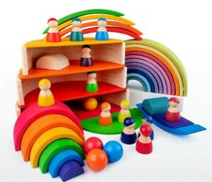 Wooden Rainbow Stacker Open ended Toy Montessori Educational Toy AU STOCK