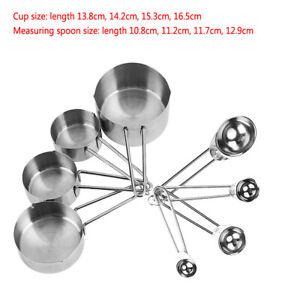 8pcs/set Measuring Cups Spoons Kit Kitchen Stainless Steel Utensils Baking Tool