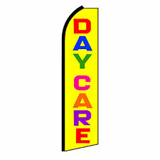 Daycare Yellow Advertising Sign Swooper Feather Flutter Banner Flag Only