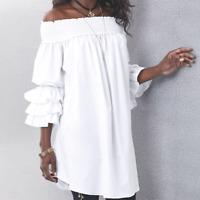 Ashro White Romantic Shoulder Blouse Joelle Ruffle Sleeve Tunic M L XL 1X 2X