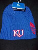 *NEW* Adidas Kansas Jayhawks Cuffless Knit Beanie Cap Hat *FREE SHIPPING*