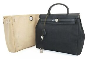 Authentic HERMES Her Bag 2 in 1 Beige and Black Canvas Hand Bag #38951