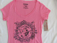 True Religion Round V-Neck T-Shirt Top-Flower Bowl-Go Pink- Size XS -NWT $69