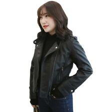 Occident Womens Faux Leather Biker Jacket Punk Short Coat Motorcycle Plus Size D