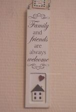 Wall Plaque Family And Friends Are Always Welcome Cream Wooden Sign 18cm F1159