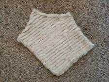 Vintage Jennifer J 100% Genuine Rabbit Fur Knit Poncho One Size Asymmetrical
