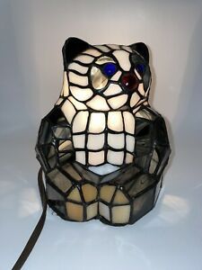 Vintage Tiffany Style Stained Glass Mosaic Panda Bear Table Night Light Lamp