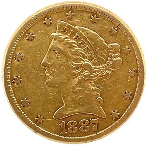 1887-S $5 Gold Liberty Head Circulated Uncertified.