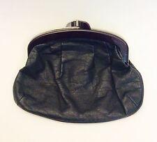 Vintage 70s Black Leather Folding Clutch, 1970's Ladies Purse, Lucite Frame