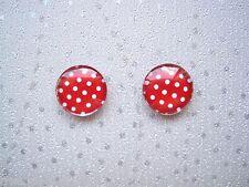 *red White Polka Dot Domed* Glass Stud 12mm SP Earrings Gift Bag Rockabilly Spot