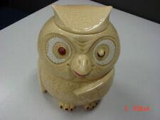 Vintage McCoy Owl Cookie Jar # 204 USA Speckled Beige Brown Cold Paint Wise Bird