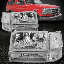 FOR 1992-1996 FORD F150/F250/F350 CHROME BUMPER HEADLIGHTS/+CLEAR CORNER LAMP