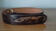 Brown leather belt - USA - Eagle motif - Wrangler