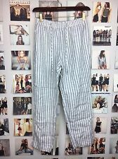 brandy melville High Rise blue Cream Striped elasticize Drawstring pants Nwot
