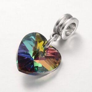 Colourful Rainbow Glass Heart Pendant European Charm Bead UK