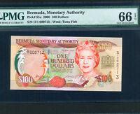 Bermuda:P-55a,100 Dollars,2000* QEII * UNC * Low Serial # * PMG Gem UNC 66 EPQ *
