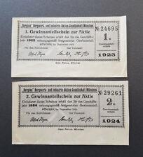 Bergina Bergwerk-u. Industrie-AG  München 2x Gewinnanteilschein Aktie 1922 (8726