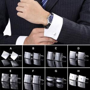 Vintage Men Silver Stainless Steel Square Wedding Shirt Cuff Links Cufflinks