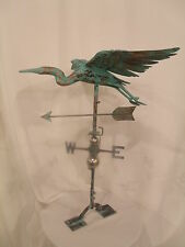 LARGE Handcrafted 3D 3-Dimensional CRANE HERON Weathervane Copper Patina Finish
