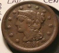 1851 U.S. Mint Matron Head Braided Hair Large Cent F-VF  LL **Free Shipping**