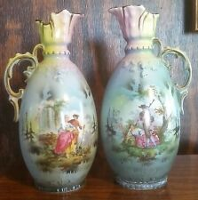 "Pair ofPorcelain Courting Couple Pitcher Vase Made In Czechoslovakia 8"" x 3 1/2"""